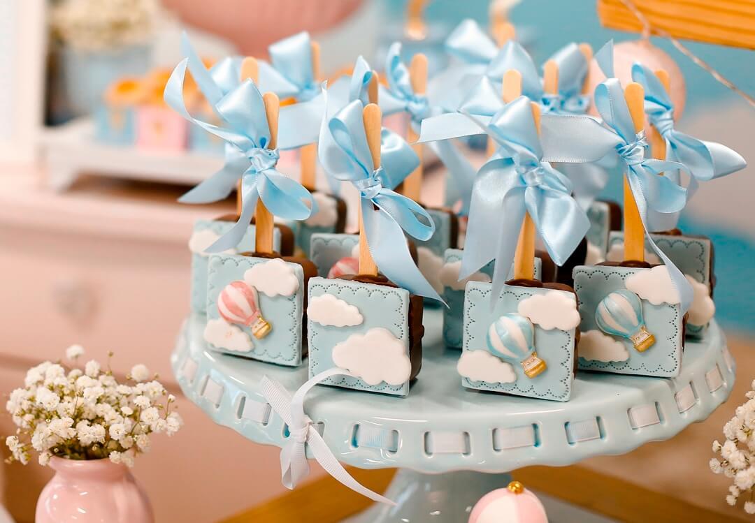 blue hot air balloon cake pops baby shower ideas